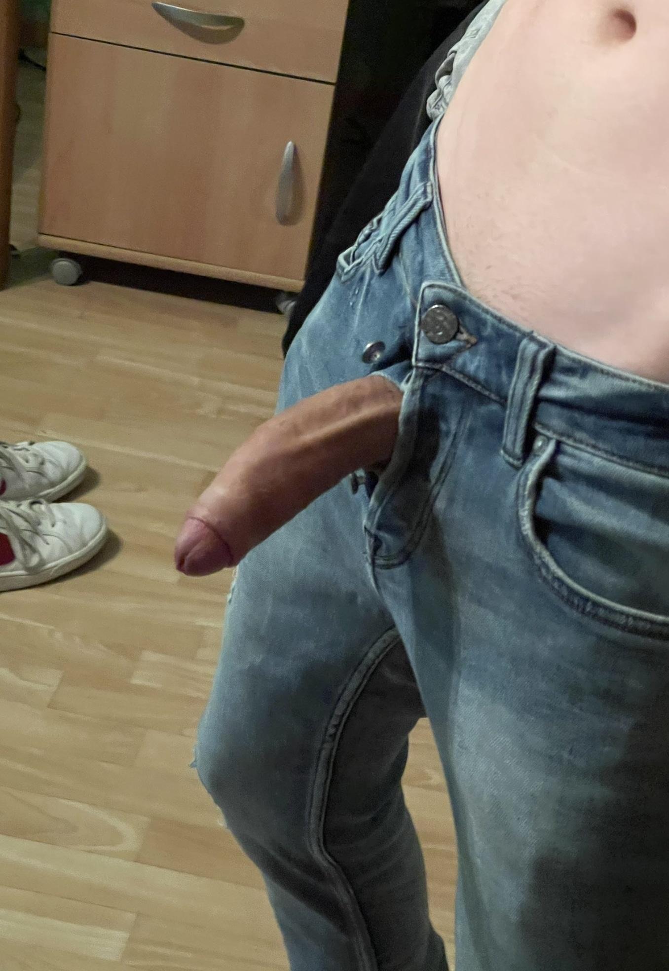 Boner out of jeans