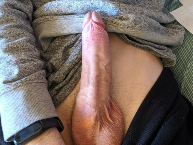 Erected dick out of pants