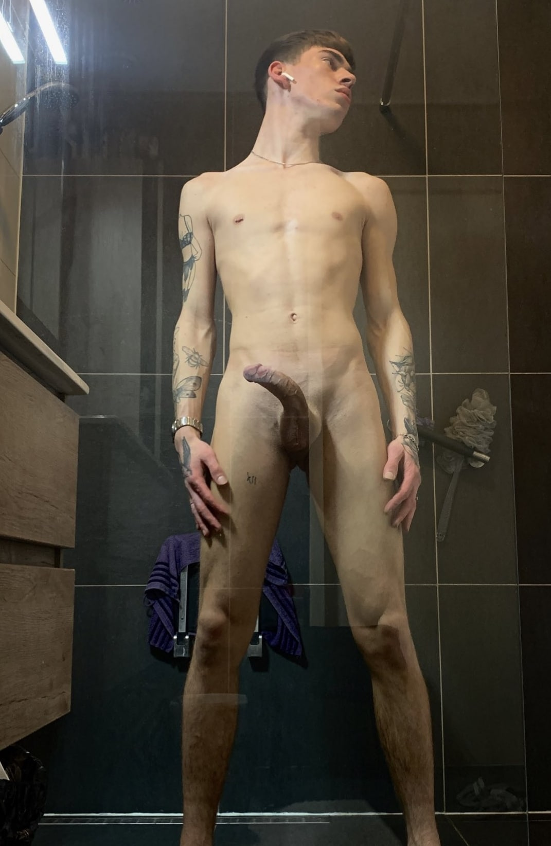 Sexy boy with a curved cock