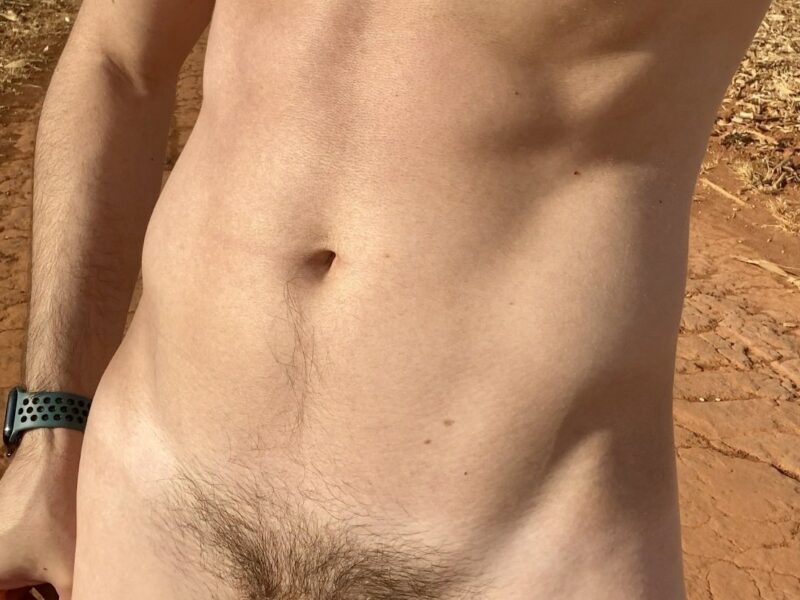 Taking a dick picture outdoors